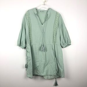 Zara Sea Green Inlet Tassel Tunic